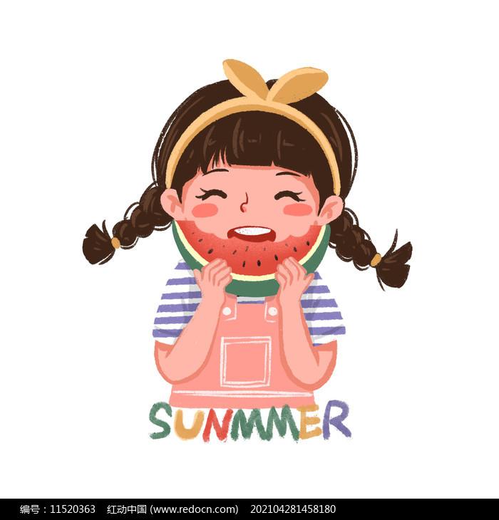 夏天吃西瓜的可爱小女孩图片