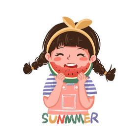 夏天吃西瓜的可爱小女孩