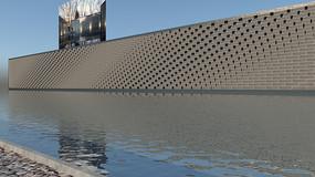 新中式青砖景墙su模型