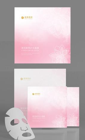 粉色原创手绘桃花面膜包装设计