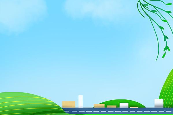 卡通天空草坪背景矢量元素