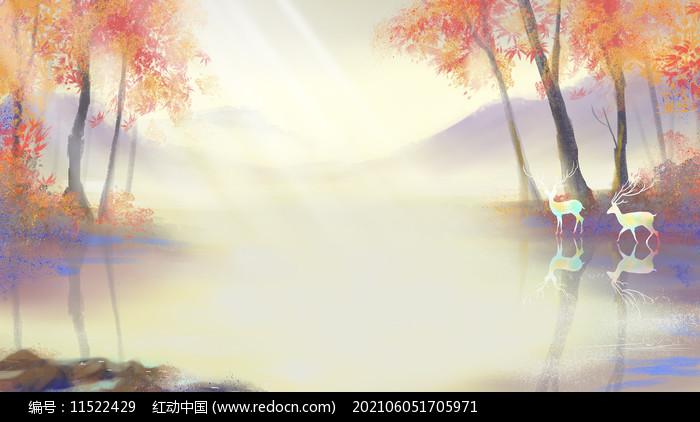 水彩立秋秋天唯美治愈系风景森林与鹿背景图片
