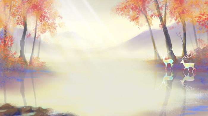 水彩立秋秋天唯美治愈系风景森林与鹿背景