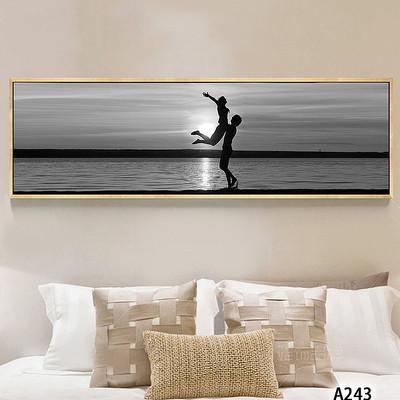 现代简约海边风景黑白唯美床头画