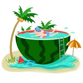 夏日西瓜泳池