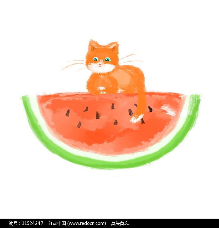 夏天的西瓜和猫图片
