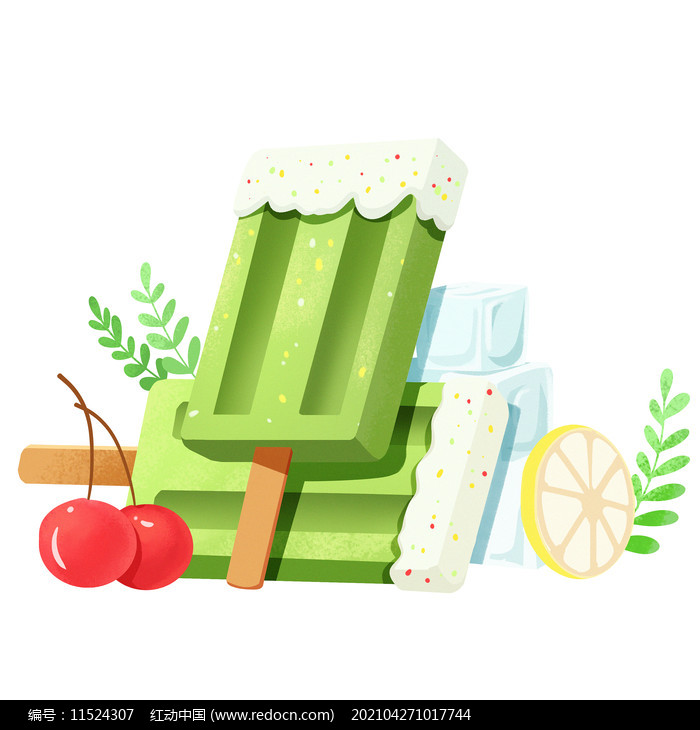 夏天节气创意绿色清新雪糕食物素材图片