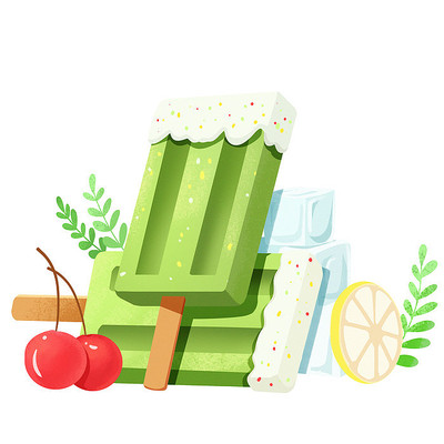 夏天节气创意绿色清新雪糕食物素材