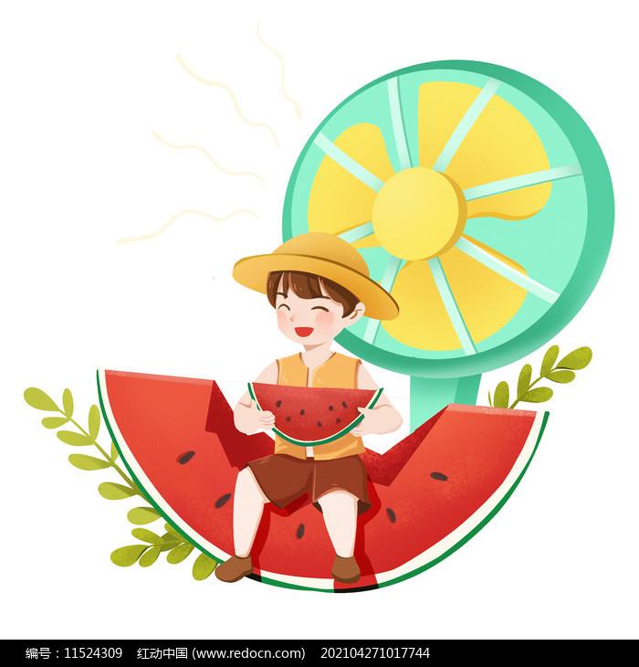 夏天节气创意男孩吃西瓜避暑素材图片