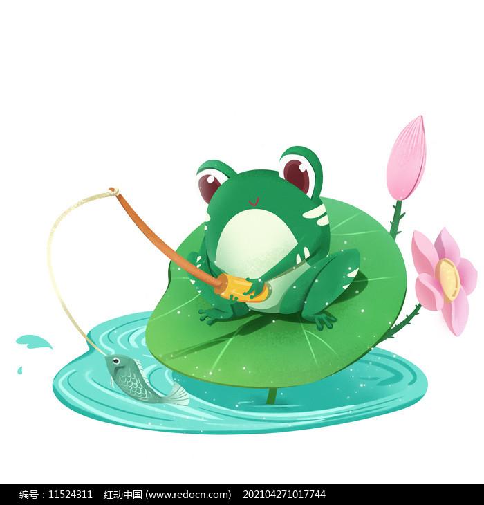 夏天节气拟人卡通青蛙荷叶上钓鱼素材图片