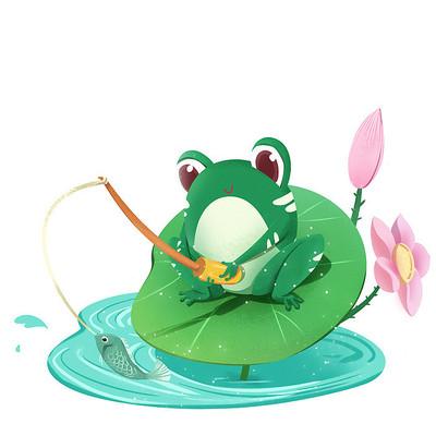 夏天节气拟人卡通青蛙荷叶上钓鱼素材