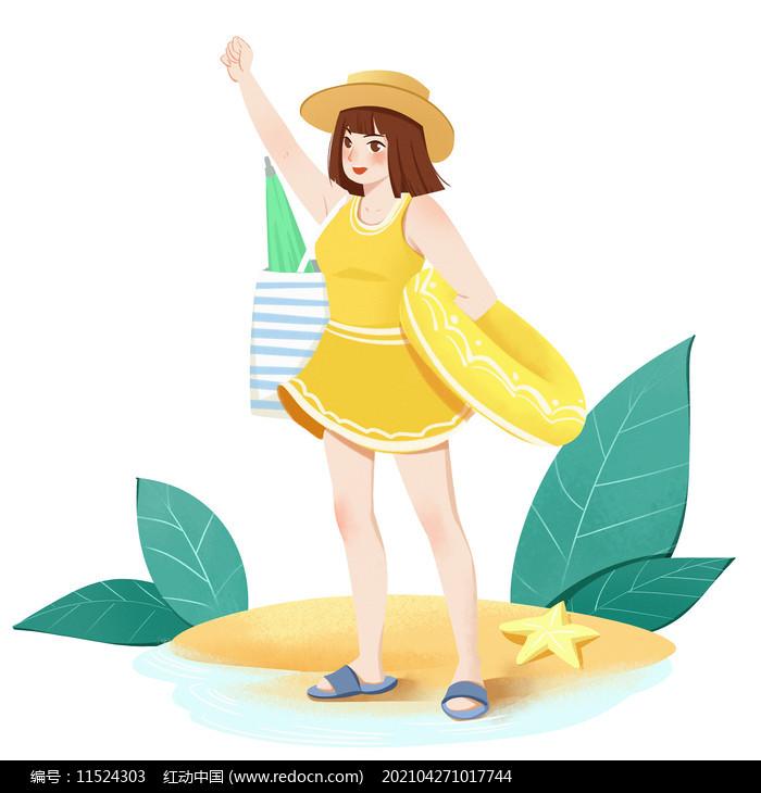 夏天节气女孩海滩度假素材图片