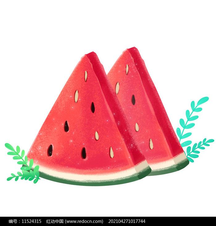 夏天节气写实西瓜水果PNG素材图片