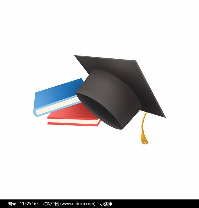 毕业季毕业帽和书素材图片