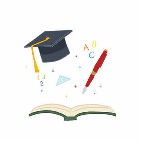 毕业季毕业帽和书素材