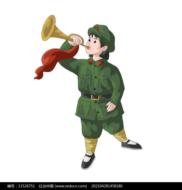 建党节建军节吹冲锋号的女兵图片