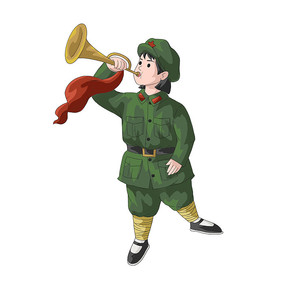 建党节建军节吹冲锋号的女兵
