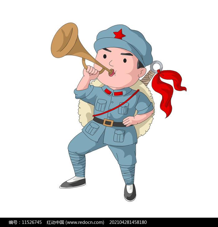 建党节建军节吹集结号的军人图片