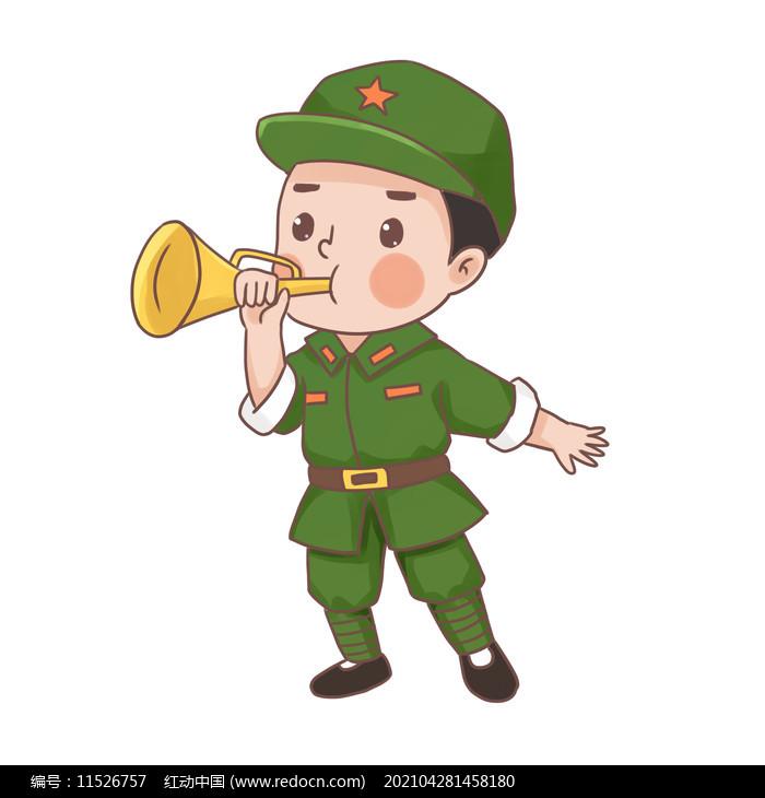 建党节建军节吹集结号的卡通军人图片