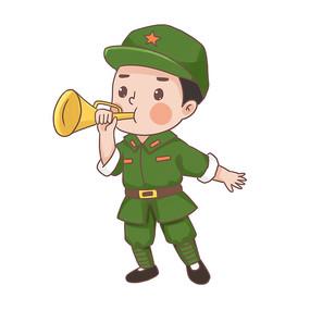 建党节建军节吹集结号的卡通军人