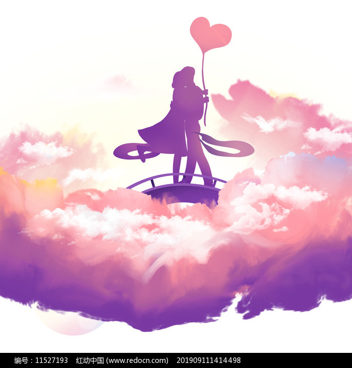 七夕紫色云彩情侣剪影元素图片