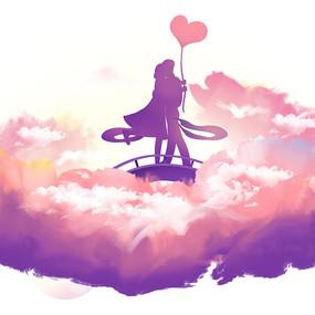 七夕紫色云彩情侣剪影元素