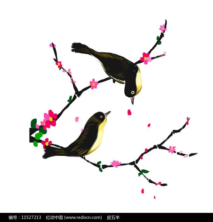 喜鹊七夕梅花素材图片