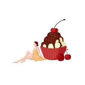 雪糕冷饮人物卡通形象创意组合