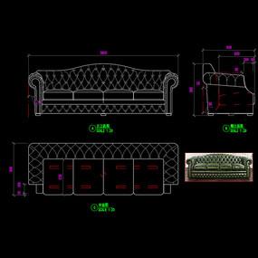 美式家具沙发CAD真皮沙发图库