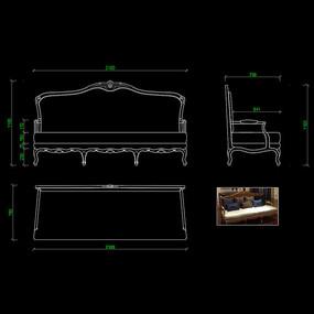 美式家具沙发CAD真皮沙发图纸