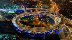 南浦大桥夜景4K延时航拍