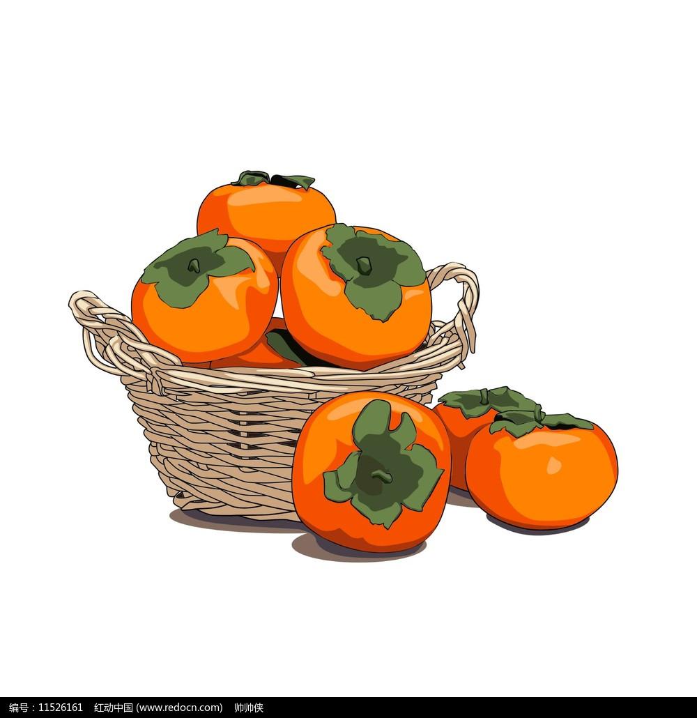 秋天柿子元素图片