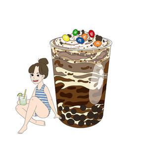 手绘卡通夏天人物冷饮