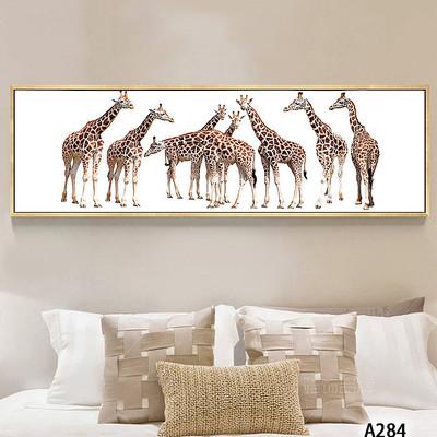 现代简约卡通动物长颈鹿床头装饰画