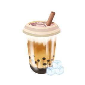 夏天奶茶冰块素材