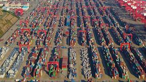 洋山深水港集装箱4K航拍原素材8分钟