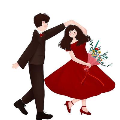 原创跳舞情侣情人节七夕元素