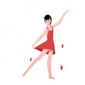 卡通矢量扁平跳芭蕾的小女孩元素