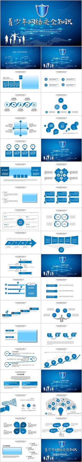 蓝色青少年网络安全知识PPT动态模板