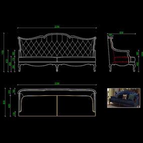 美式家具沙发CAD高档布艺沙发图库