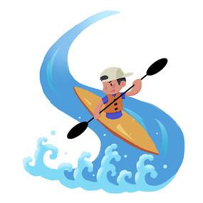 皮划艇夏天男孩漂流