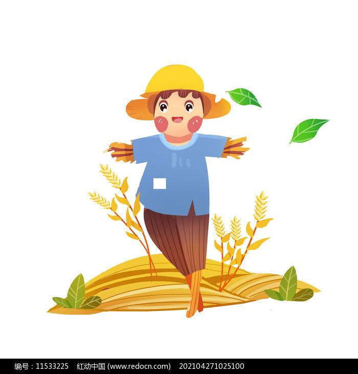 秋天的一个小小稻草人元素图片