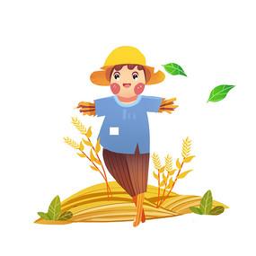 秋天的一个小小稻草人元素