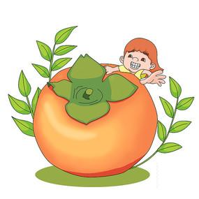 秋天柿子和小女孩