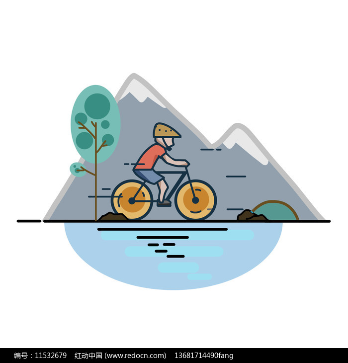 手绘卡通人物运动骑车图片