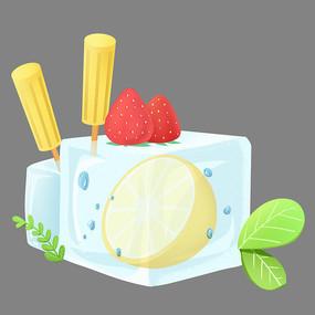 夏天节气创意冰块柠檬雪糕素材