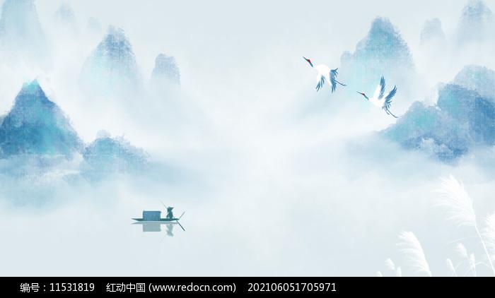 白露中国风山水墨画二十四节气背景图片