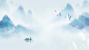 白露中国风山水墨画二十四节气背景
