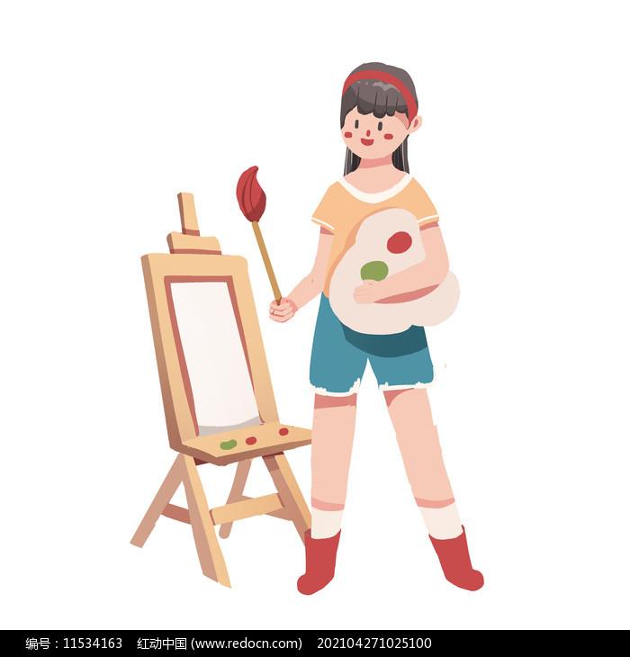 卡通矢量画画工具培训班元素图片