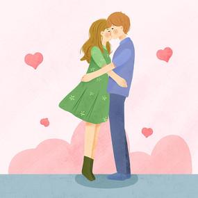情侣亲吻psd
